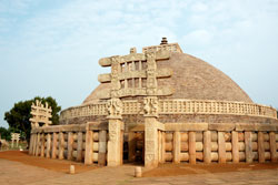 Ancient Great stupa in Sanchi, India